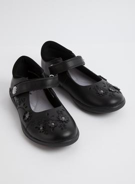 Black Floral School Shoes