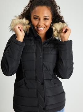 Black Padded Coat With Faux Fur Hood