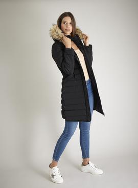 Green Long Line Padded Coat