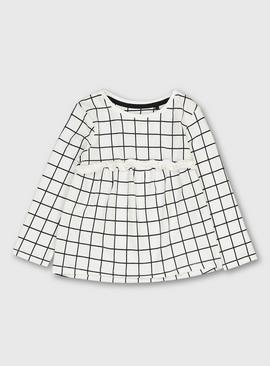 Monochrome Grid Frilled Detail Top