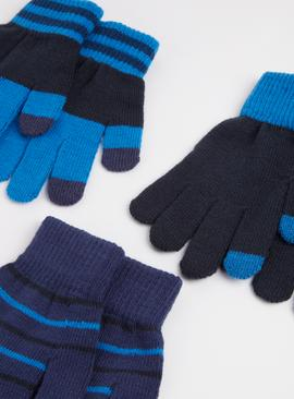 Blue Stripe Touchscreen Gloves 3 Pack - One Size