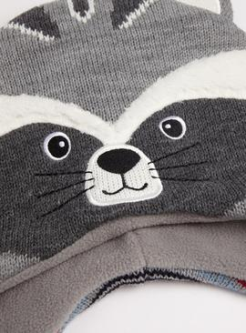Grey Knitted Racoon Hat