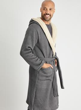 Herringbone Borg Lined Hooded Dressing Gown