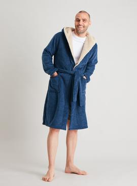 Navy Borg Lined Dressing Gown