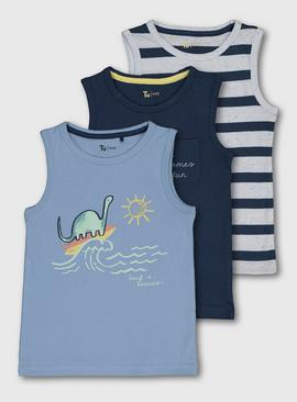 Dinosaur, Stripe & Navy Vest Top 3 Pack