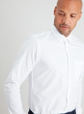 White Slim Fit Long Sleeve Easy Iron Shirts 3 Pack