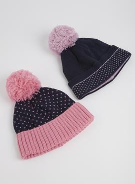 Navy & Pink Heart Beanie Hats 2 Pack