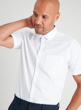 White Slim Fit Short Sleeve Easy Iron Shirts 3 Pack