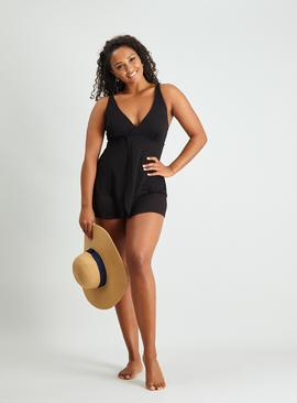 Black Lace Skirted Swimsuit