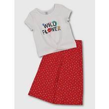 White & Red 'Wild Flower' Slogan Top & Culottes
