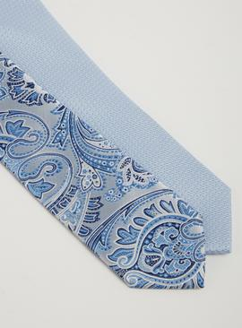 Silver & Blue Paisley & Plain Tie 2 Pack - One Size