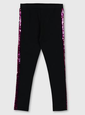 Black Leggings With Pink Sequin Tape Trim