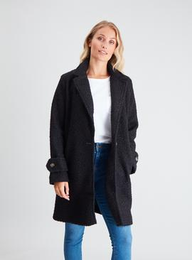 Brown Bouclé Crombie Coat