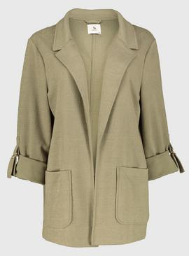 Khaki Crepe Turn Back Cuff Jacket