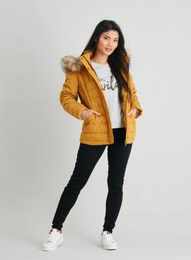 PETITE Mustard Yellow Padded Coat With Hood