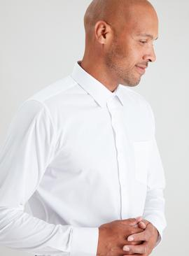 White Easy Iron Regular Fit Long Sleeve Shirt