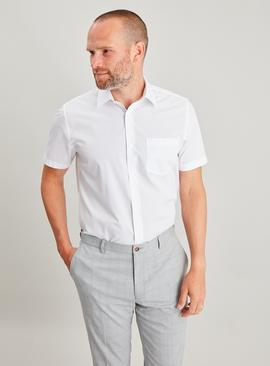 White Easy Iron Regular Fit Short Sleeve Shirt