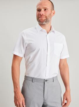 White Easy Iron Slim Fit Short Sleeve Shirt
