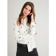 Cream Button-Through Bird Print Shirt