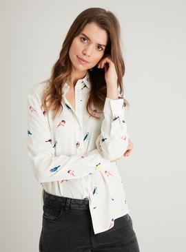Cream Button-Through Bird Print Shirt