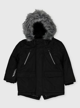Black Shower Resistant Hooded Parka