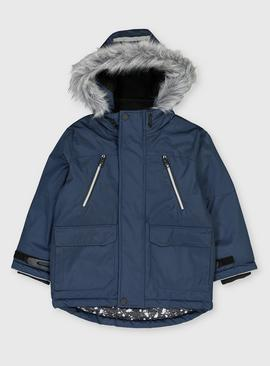 Navy Hooded Shower Resistant Parka Coat