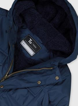 Navy Hooded Coat With Borg Lining