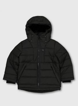 Black Padded Fleece Lined Coat