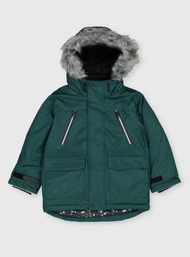 Green Shower Resistant Hooded Parka