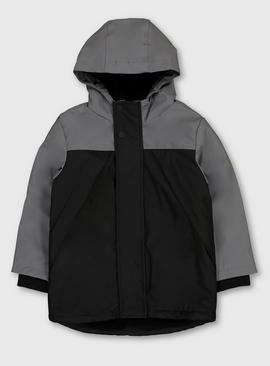 Grey Colour Block Hooded Mac