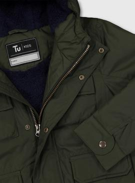 Khaki Hooded Coat With Navy Borg Lining