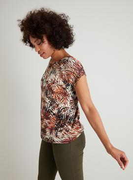Multicoloured Jungle Fever Leaf Print Top