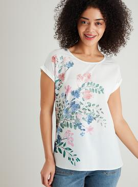 Cream Floral Detail Woven Front Top