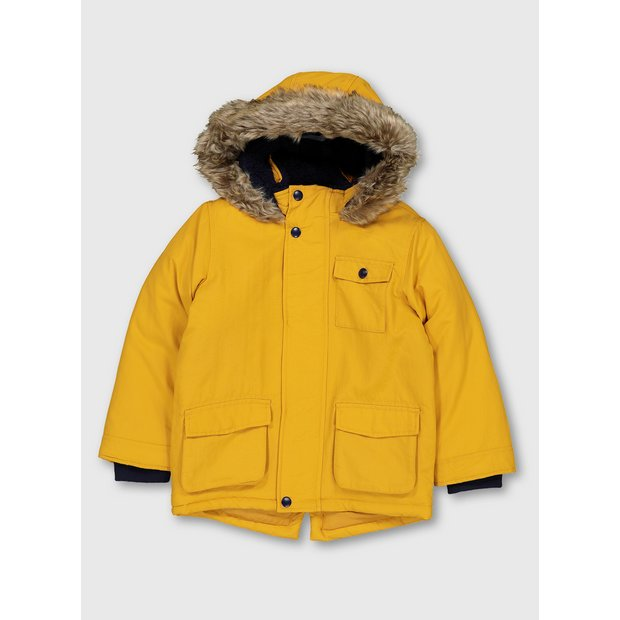 The Collection Mustard Yellow Faux Fur Lined Parka Coat