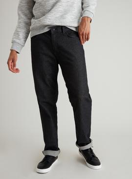 Black Wash Straight Leg Denim Jeans With Stretch