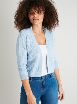 Blue Mini Cable Knit Soft Touch Cardigan