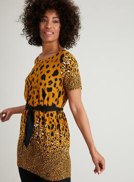 Ochre Animal Print Belted Tunic