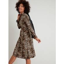 Leopard Print Belted Jersey Dress