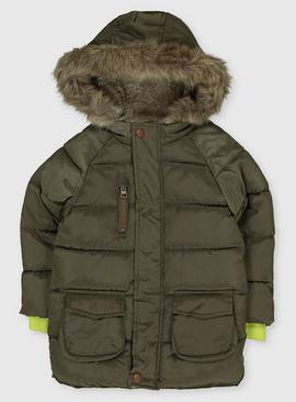Khaki Padded Jacket With Hood