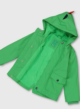 Green Dinosaur Hooded Mac