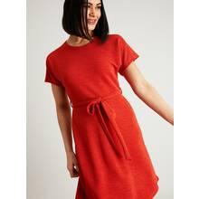 Dark Orange Textured A-Line Dress