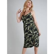 Black & Green Leaf Print Cami Dress