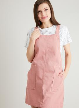 Dusky Pink Cotton Twill Pinafore