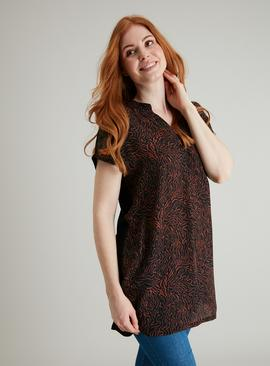 Black & Terracotta Mark Making Print Woven Front Tunic