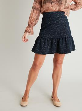 Navy Blue Metallic Thread Flippy Skirt