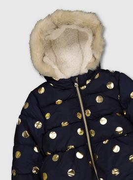 Navy & Gold Spot Print Padded Coat & Mittens
