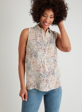 Multicoloured Animal Print Sleeveless Shirt
