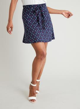 Navy, Red & White Anchor Print Flippy Skirt
