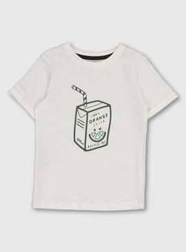 White Orange Juice Carton Graphic T-Shirt