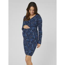 Blue Floral Print Jersey Maternity Dress